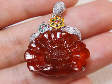 18k Solid White Gold Diamond & Ruby A Jadeite Jade Red Suffruticosa Pendant