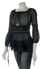 Pinko Silk Empire Waist Beaded Top, Sexy black blouse.