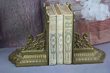 Exclusive pair BRASS French 1940's CHIMAERA dragon gothic bookends gold gilt