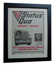 STATUS QUO+Back To Back+POSTER+AD+RARE ORIGINAL 1983+FRAMED+EXPRESS GLOBAL SHIP