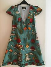 Get Cutie Blue Short Cap Sleeve Dress Viva Frida Aqua Retro Vintage Pin-up 10 12