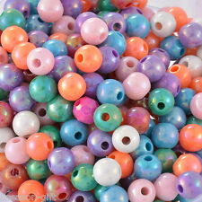 "300PCs Mixed AB Color Round Acrylic Spacer Beads 8mm(3/8"") Dia. B22091"