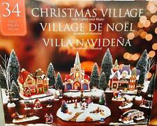 34 Piece Table Top Christmas Village Scene with Lights and Music