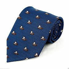 Water Fowl Ducks Mens Neck Tie Bird Blue Necktie Small Print Animal Hunting New