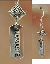Silver Yoga Namaste Drop/Dangle Charm Earrings Handmade Jewelry NEW Accessories