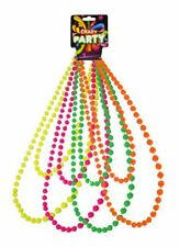 "4 Pack Fancy Dress Neon 40"" Long Plastic Costume 70's and 80's Beaded Necklace"
