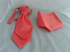 Coral-Salmon BOYS Scrunchie Ruche Wedding Polyester Tie-Cravat and Hankie Set