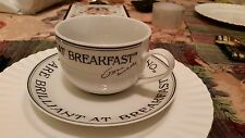 PORCELAIN LARGE COFFEE CUP AND SAUCER PAST TIMES OSCAR WILDE OXFORD ENGLAND