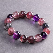 13mm Natural Super 7 Seven Crystal Melody Stone Round Beads Bracelet AAAAA