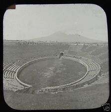 Glass Magic Lantern Slide  POMPEII AMPHITHEATRE AND VESUVIUS VOLCANO C1900 ITALY