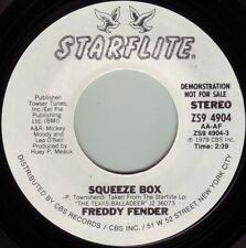 FREDDY FENDER Squeeze Box ((**NEW UNPLAYED 45 DJ**)) from 1979