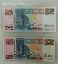 SINGAPORE $2 SHIP BANKNOTE (2 PCS)  - UQ740636 & JZ299981