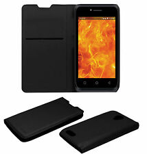 ACM-LEATHER PREMIUM BLACK FLIP CASE for LYF FLAME 6 MOBILE FRONT & BACK COVER