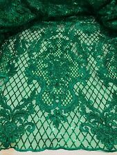 "KELLY GREEN METALLIC EMBROIDERY SEQUINS BEIDAL LACE FABRIC 50"" WiIDE 1 YARD"