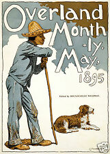 "Overland Monthly Magazine USA Man & Dog, Cover May 1895 11x8"" Reproduction"