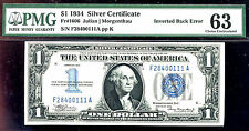 1934 $1 silver certificate inverted back-PMG63-FR#1606-RARE-FINEST KNOWN FROM 9