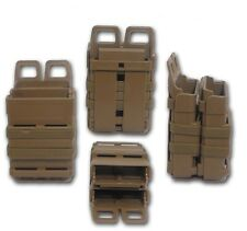 Tan Airsoft FastMag Molle Pouch M16/M4 Double Fast Mag Clip / 5.56mm Magazine