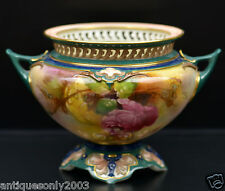Antique ROYAL WORCESTER Rose Hand Painted Footed Vase Hadley Style SIGNED BLAKE