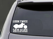 LOOK TWICE SAVE A LIFE MOTORCYCLE VINYL DECAL STICKER WINDOW CAR TRUCK BUMPER