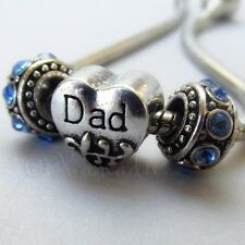 Dad European Heart Charm And Birthstone Beads For Large Hole Charm Bracelets