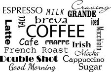 COFFEE COLLAGE Kitchen Dining Room Wall Art Decal Quote Words Lettering Decor