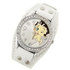 Reloj Betty Boop blanco con remaches watch A1492