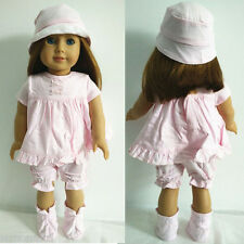 Pink Color Outfits Clothes Suits with Hat for 18 inch American Girl Doll