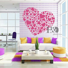 Stylish Pink Love Heart Removable Bedroom Wall Stickers Art Mural Decals Decor