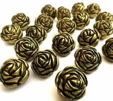20 x Large Flower Rose Antique Bronze Acrylic Beads 19.5 x17mm Hole 2mm