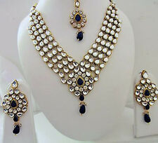 Indian Bollywood Designer Women's Blue Kundan Pearls Fashion Jewelry Sets