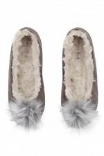 Ruby & Ed Pom Pom Ballerina Slippers Shoes Size 4/37 BNWT Grey Lynx Uk Freepost