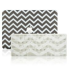 "Matte Chevron GREY Hard Case + Keyboard Cover Skin for Macbook Pro 13"" A1278"