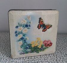 50s 60s Vintage Kitsch Huntley & Palmers Grace Biscuit Tin Floral Butterfly