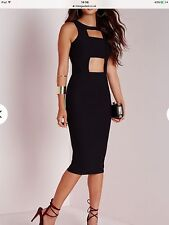 Missguided Black Crepe Front Cut Out Midi Bodycon Dress. Size 8.