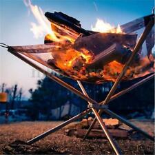 Camping Folding Stove Fire Frame Stand Wood Burning Grill Charcoal Rack Net NEW