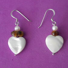 Beautiful  Earrings With Pearls M. O. P. And Tiger Eye Gemstone 2.8 Gr.3 Cm.Long