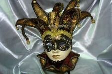 Womens Venetian Fabric Embroidery Masquerade Theater Jester Mask [Gold/Black]