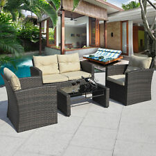 4PCS Gradient Brown Wicker Cushioned Patio Set Garden Sofa Furniture Rattan