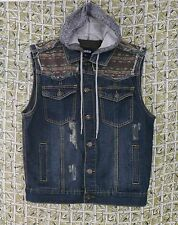 Carbon Mens Large Hoodie Denim Vest Distressed Destroyed Fabric Detail Knit Hood