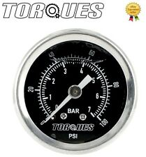 "Torques Analog Fuel Pressure Gauge 1/8"" NPT Black Back Fed 0-7 BAR/0-100 PSI"
