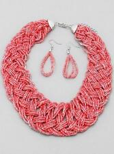 Multi Strand Coral Glass Seed Bead Braided Necklace Earring