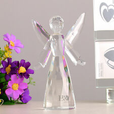 Clear 3D Crystal Paperweights Angel Figurine Glass Xmas Wedding Ornament Gifts