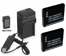 TWO 2 Batteries + Charger for Panasonic DMC-FX30K DMC-FX30S DMC-FX30T DMC-FX33A
