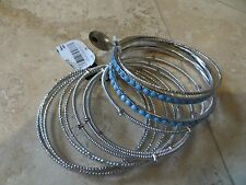 INC. 12 Piece Bangle Bracelet Silver Finish  Blue Stones Rhinestones NEW w/ Tags