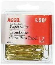 ACCO Gold Tone Jumbo Paper Clips Smooth Finish Steel Wire 20 Sheet Capacity 5...