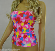 BOOB TUBE Top 8-10 Long Bandeau NEW Pink Multi HEARTS Strapless Women Holiday W7