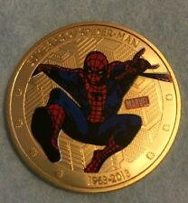 50 Years Of Spider-Man 24k Gold Plated Coin Marvel Super Hero Collectors Kids