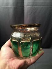 Antique Moser Emerald Green & Gold Stenciled Graphics Vanity Cut Glass Low Vase