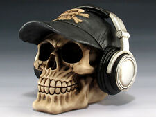 SKULL WITH BASEBALL CAP AND HEADPHONES  SKELETON FIGURINE STATUE HALLOWEEN
