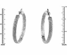 Pave Clear AAA CZ Rhodium Plated Domed Insideout Hoop Earrings 37MM
